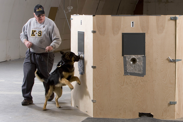 Bill Castle, dog handler and owner of Castle's K9, takes Ares on a search for the target compound at the APl test center