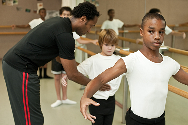 Meredith Rainey, a former Pennsylvania Ballet dancer, works with two students. Photo Courtesy: Daniel Bedell