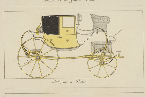 Though imported carriages in 1800s Baltimore were more likely to have come from England than France, their styles and fine appointments were undoubtedly similar to designs by French publisher Pierre de La Mésangère, which circulated in early America. This 1892 colored engraving of a stagecoach design will be on display. Photo: Homewoodphoto.jhu.edu for Homewood Museums