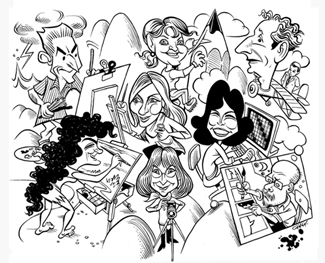 Clockwise from bottom left: Barbara Gruber, Craig Hankin, Clara Ober (center), Larcia Premo, D.S. Baker, Gricel Salazar, Tom Chalkley and Phyllis Berger.